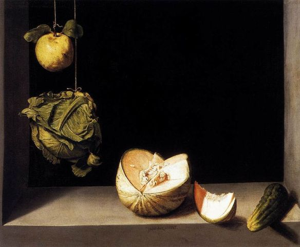 "Juan Sanches Cotan's (Spain, 1560 - 1627) ""Still Life with Quince, Cabbage, Melon and Cucumber"""